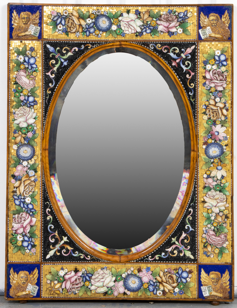 A large Venetian Italian micromosaic glass mirror, likely late 19th or early 20th century Murano