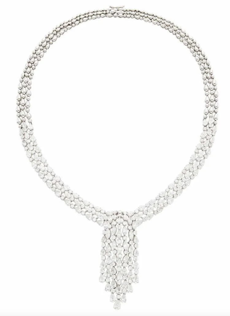 An 18k white gold and diamond fringe necklace, estimated at $15,000-$20,000