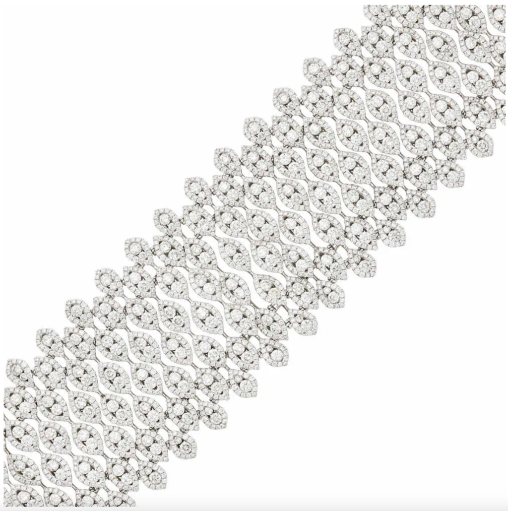 An 18k white gold and diamond bracelet from the collection of Greta Crusoe, estimated at $18,000-$22,000
