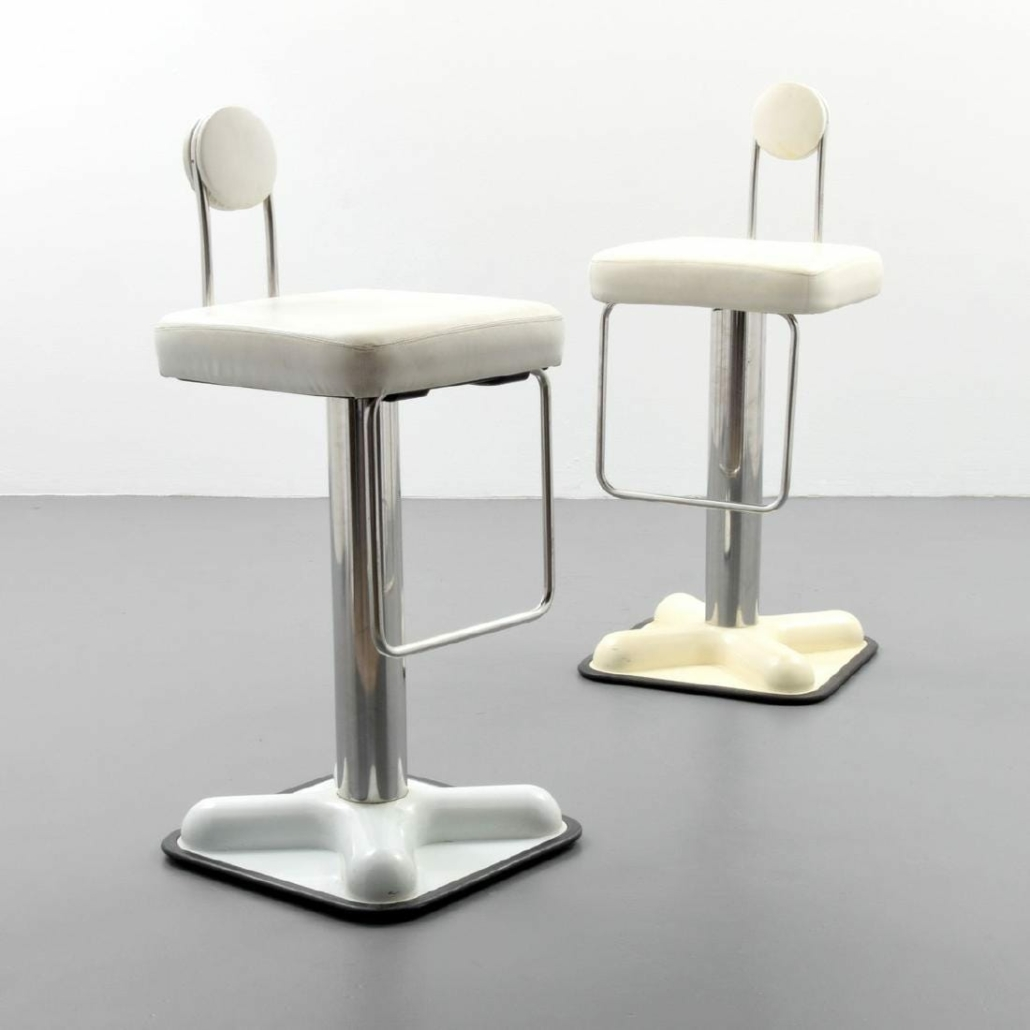 Two Birillo stools sold for $1,000 plus the buyer's premium in June 2018 at Palm Beach Modern Auctions.