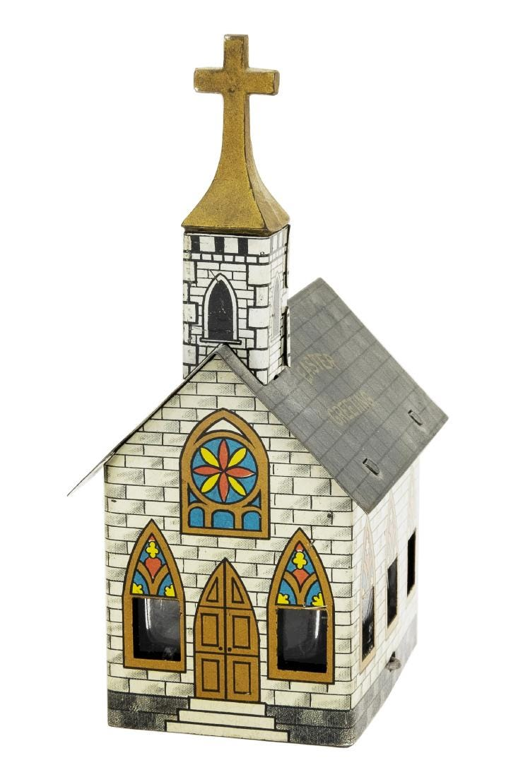 This Easter Greeting church candy container made of tin and glass, standing 4⅞in tall, sold for $2,200 plus the buyer's premium in June 2019 at The RSL Auction Co.