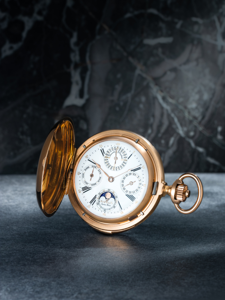 A B. Haas perpetual calendar hunter case pocket watch, estimated at $18,000-$22,000