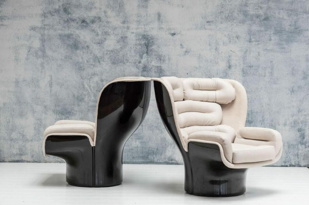 Two Elda armchairs achieved $21,744 plus the buyer's premium in October 2020 at Quittenbaum Kunstauktionen GmbH.