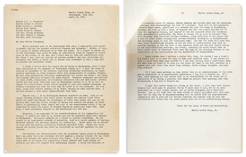 An early draft of Dr. Martin Luther King, Jr.'s 1963 Letter from Birmingham Jail sold for $185,000.