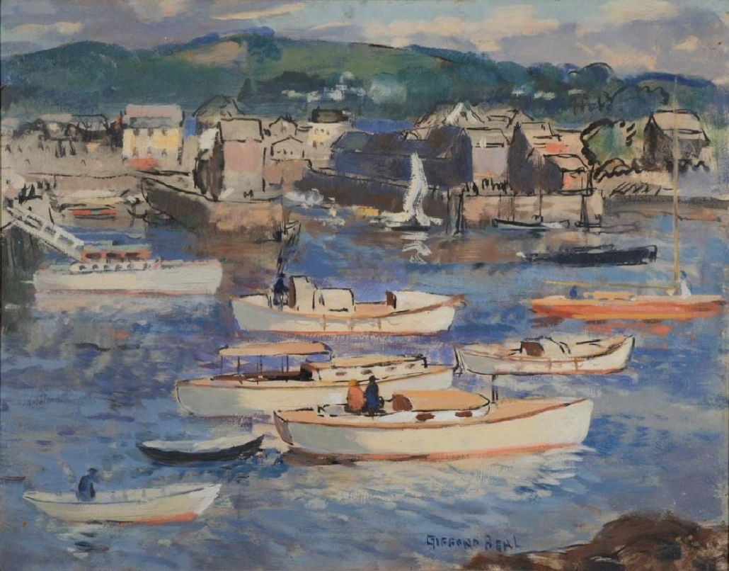 Gifford Beal's oil on Masonite of Rockport Harbor brought $5,500 plus the buyer's premium in January 2018 at Nadeau's Auction Gallery.