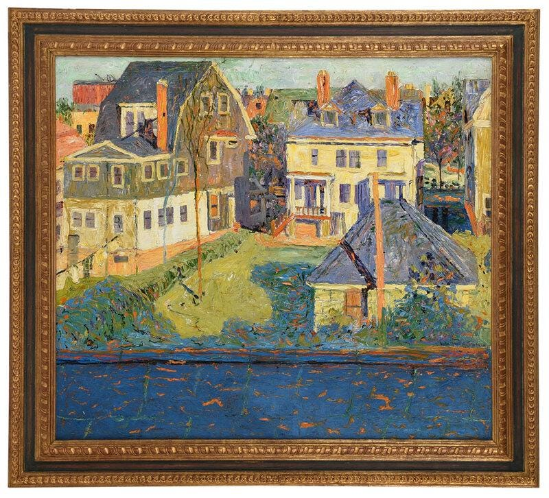 'Sunlight in Irvington,' John R. Grabach's painting of his New Jersey studio, sold for $12,000 plus the buyer's premium in November 2020 at Brunk Auctions.
