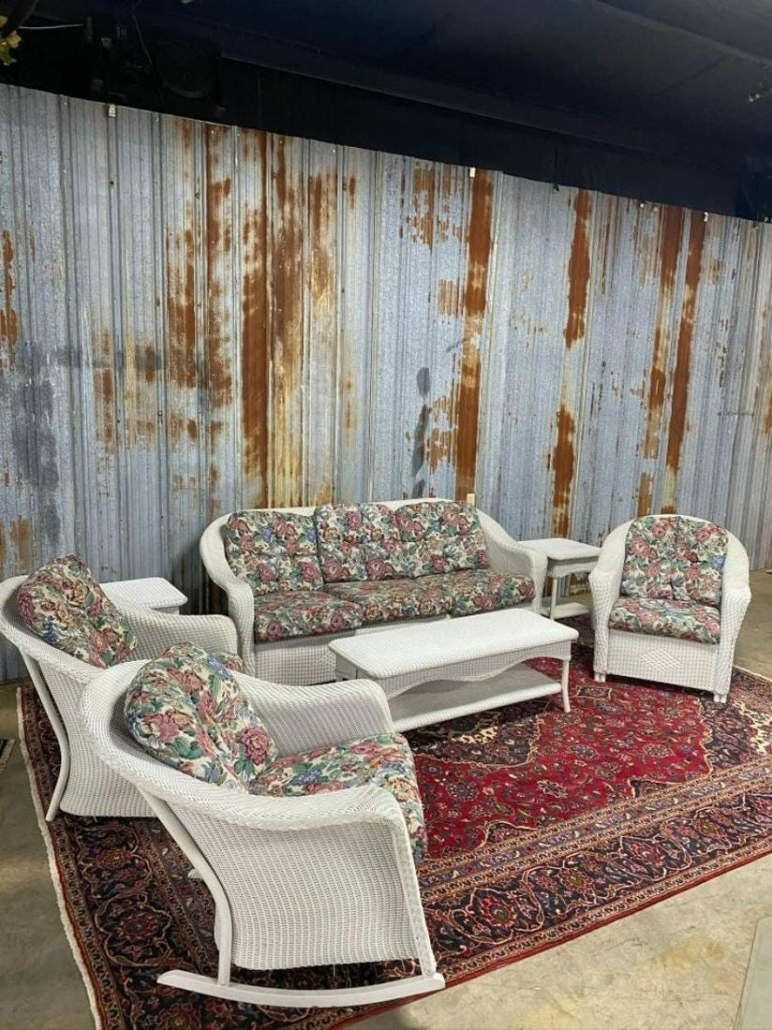This seven-piece Lloyd Loom wicker-style furniture set sold for $1,150 plus the buyer's premium in July 2020 at Aok Auction Gallery.