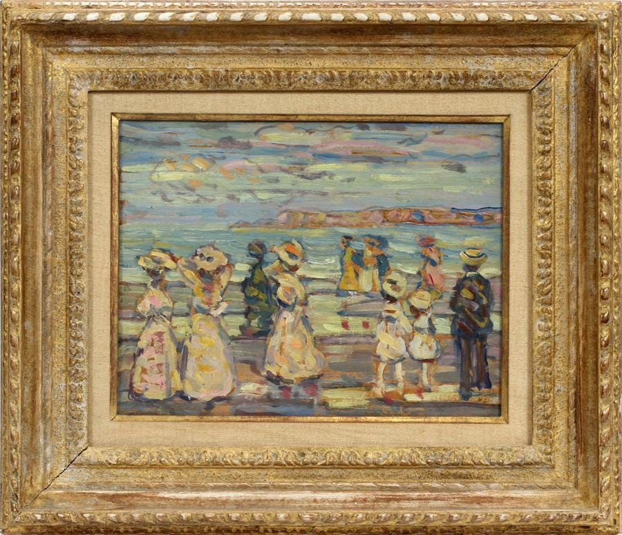Artists have flocked to Cape Ann for more than 150 years to paint. Maurice Brazil Prendergast's 'Beach At Cape Ann,' circa 1907-1910, fetched $145,000 plus the buyer's premium in October 2019 at DuMouchelles.