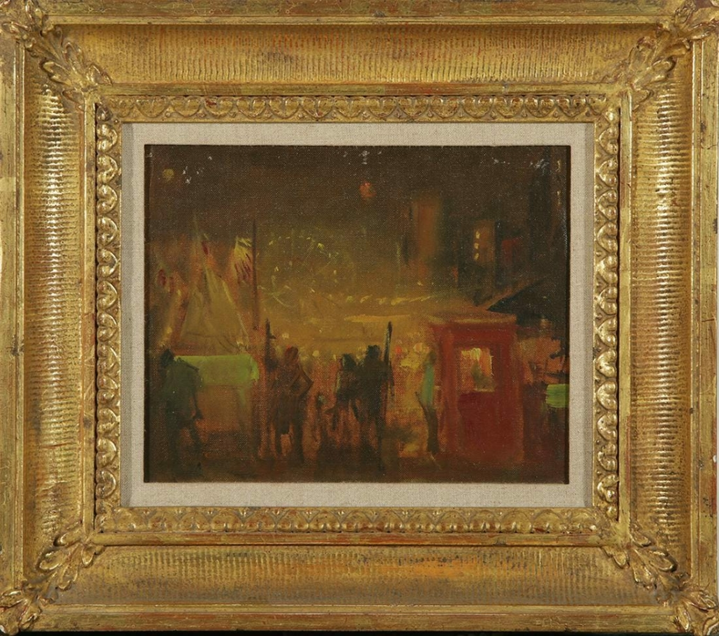 Everett Shinn's 'On Mulberry Street' realized $15,000 plus the buyer's premium in May 2020 at Royal Antiques.