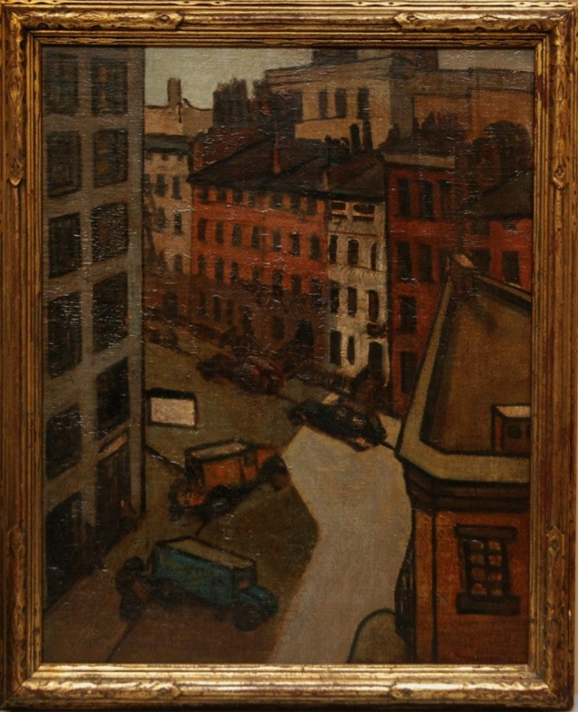 A John Sloan oil painting of a New York City street scene made $77,500 plus the buyer's premium in August 2015 at Eros Auctions, Inc.