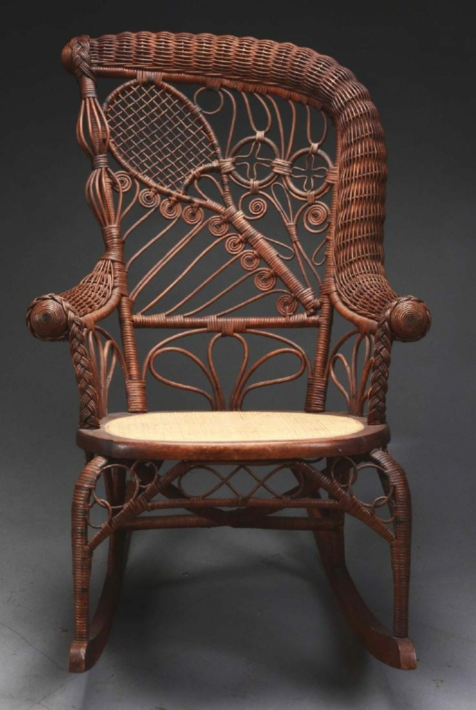 A rare and unusual wicker turn-of-the-century rocking chair with a weaving design depicting a tennis racket and balls, probably made by Heywood & Wakefield, sold for $3,000 plus the buyer's premium in August 2018 at Dan Morphy Auctions.