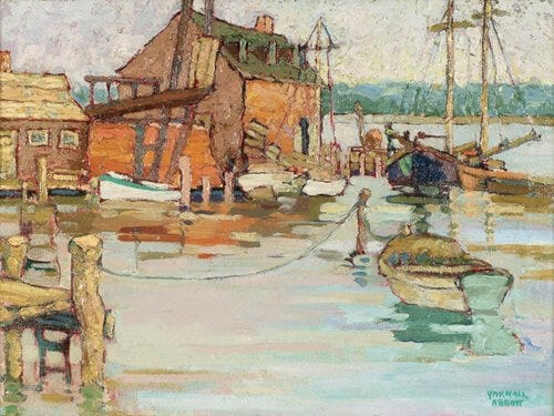 Cape Ann artwork is, of course, distinguished by marine scenes, such as Yarnall Abbott's oil painting 'Fishing Boats in a Harbor.'