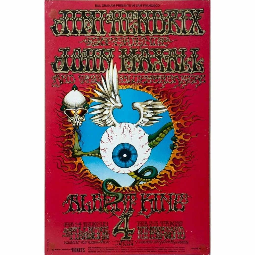 Jimi Hendrix concert poster from 1968, estimated at $400-$600