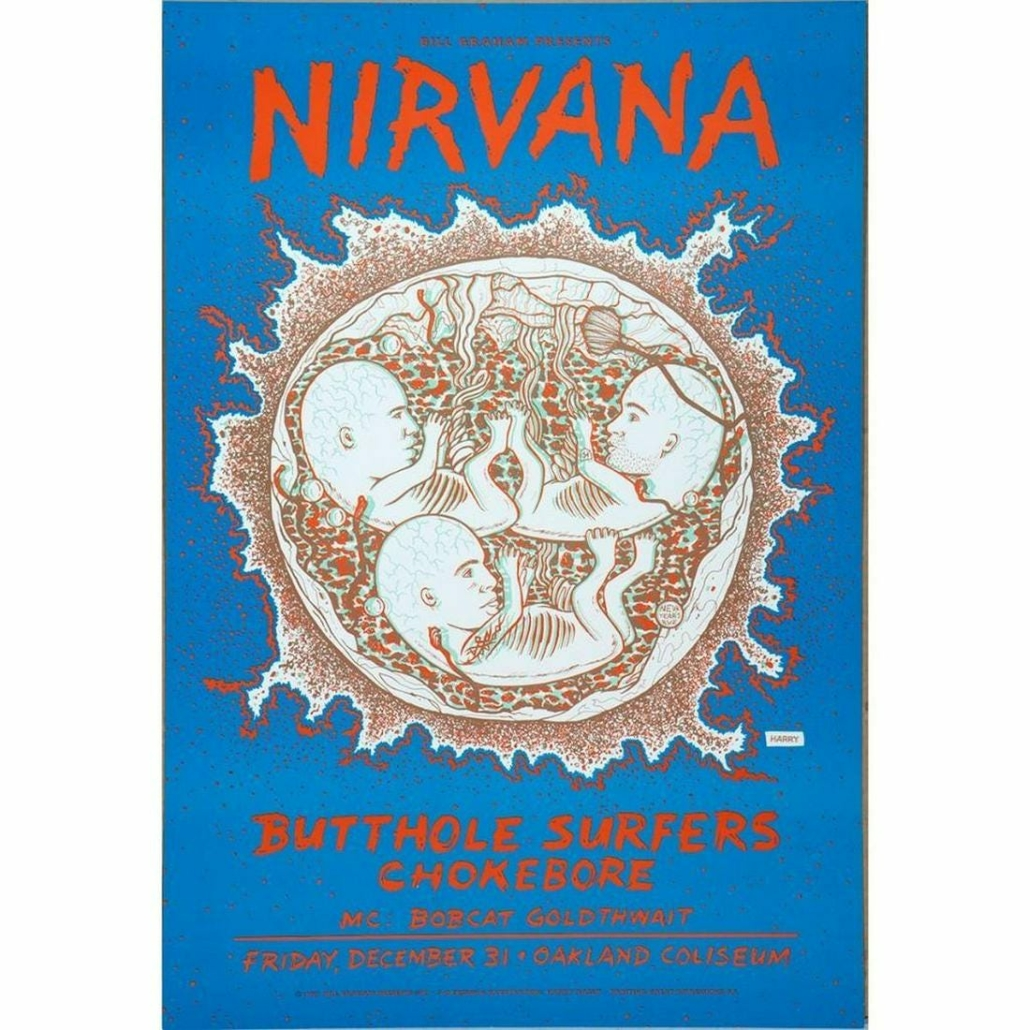 Nirvana 1993 poster by artist Harry Rossit, estimated at $150-$250