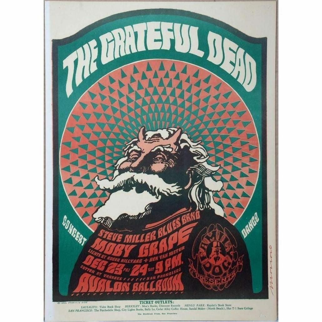 Grateful Dead/Steve Miller 1966 poster with tripping Santa image, estimated at $250-$350