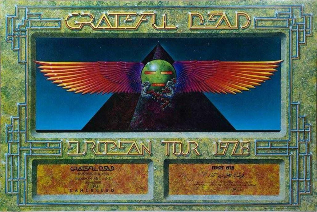 Grateful Dead 1978 European tour poster, estimated at $200-$300