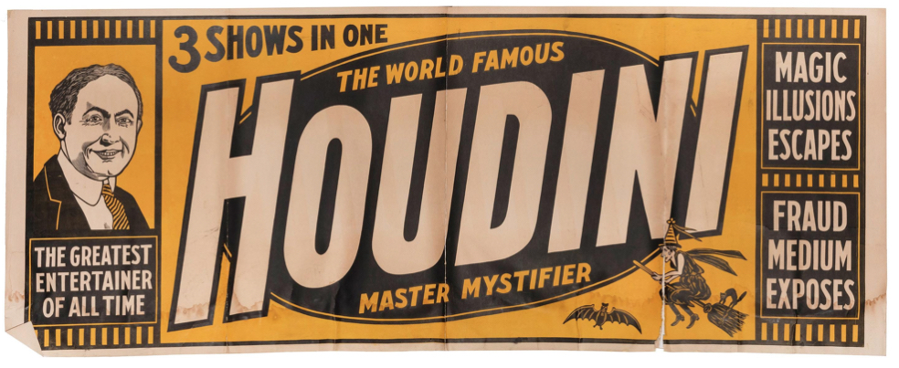 Harry Houdini final tour billboard poster from 1925, estimated at $2,000-$4,000