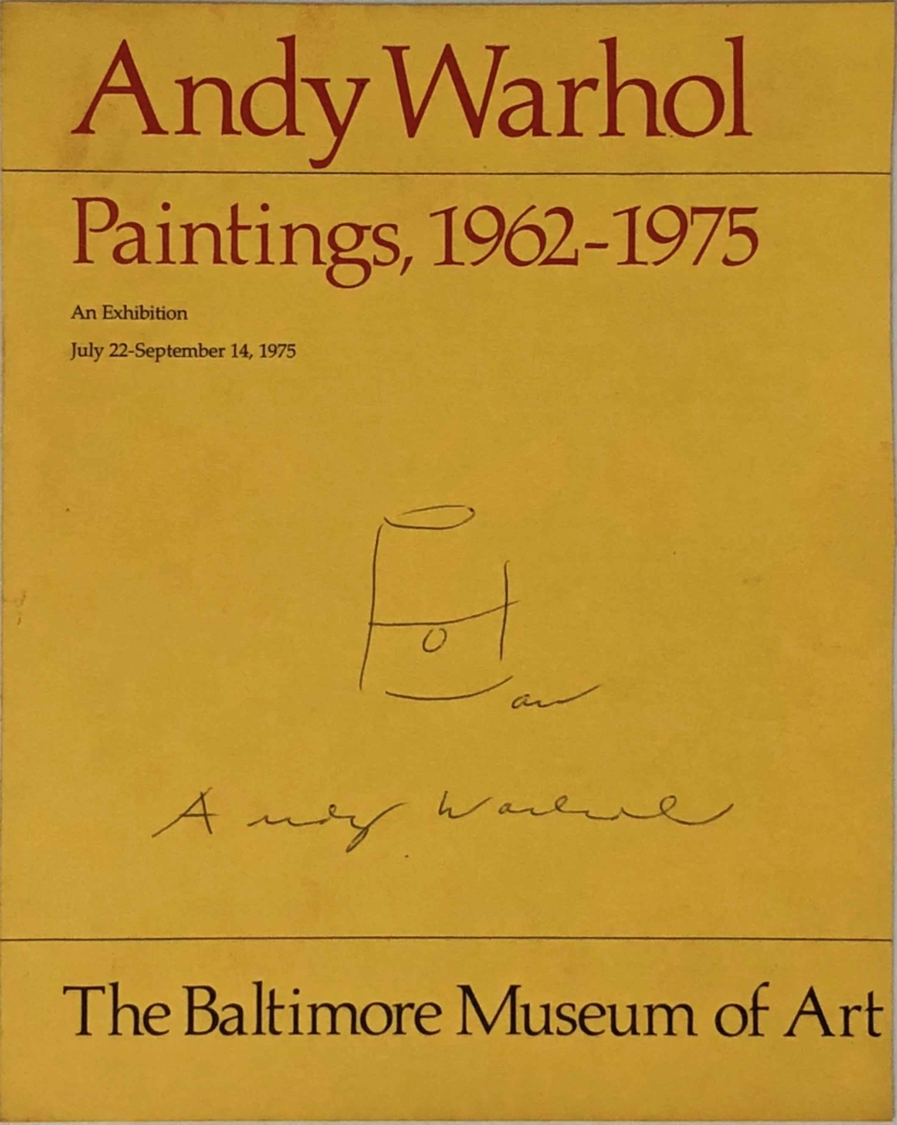 Andy Warhol-signed exhibition catalog on which he drew a Campbell's soup can, estimated at $500-$1,000