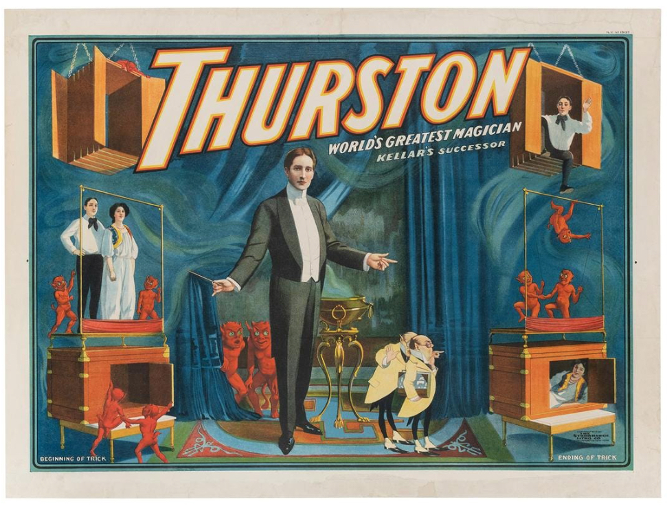 'Thurston, World's Greatest Magician' linen backed poster, estimated at $5,000-$8,000