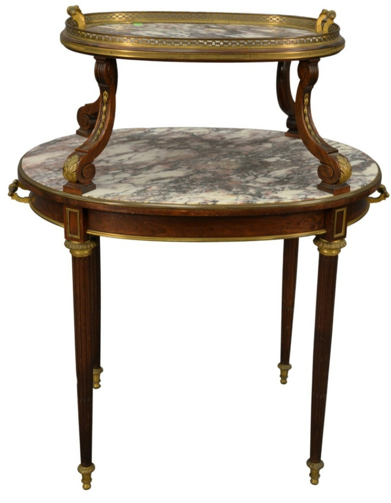 Louis XVI style mahogany pastry table, estimated at $1,000-$1,500