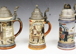 A lot consisting of three vintage German beer steins together brought $3,400 plus the buyer's premium in May 2020 at Robert Slawinski Auctioneers, Inc.