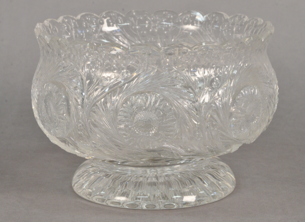 Thomas Webb engraved rock crystal style footed bowl, estimated at $4,000-$8,000