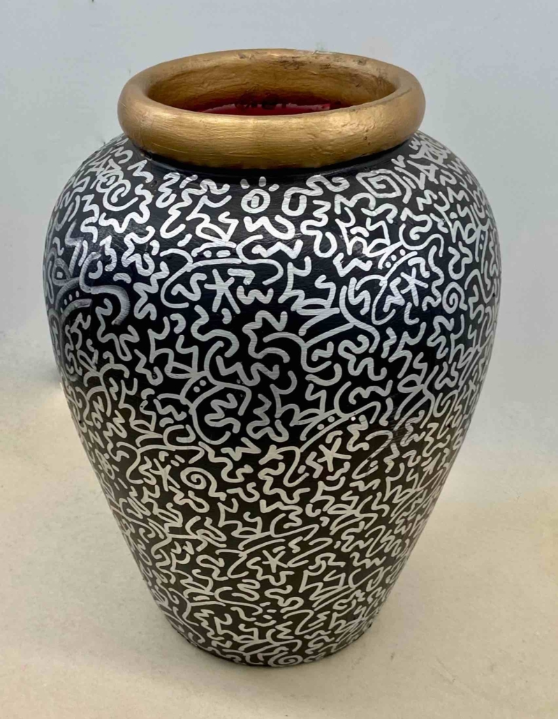 LA II-tagged painted pottery vase, estimated at $600-$800