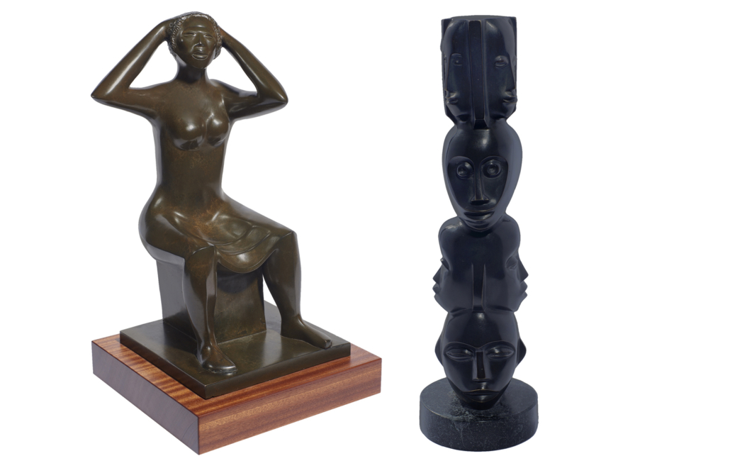 Elizabeth Catlett, 'Woman Fixing Her Hair,' and 'Untitled (Faces),' respectively estimated at $40,000-$60,000 and $30,000-$50,000