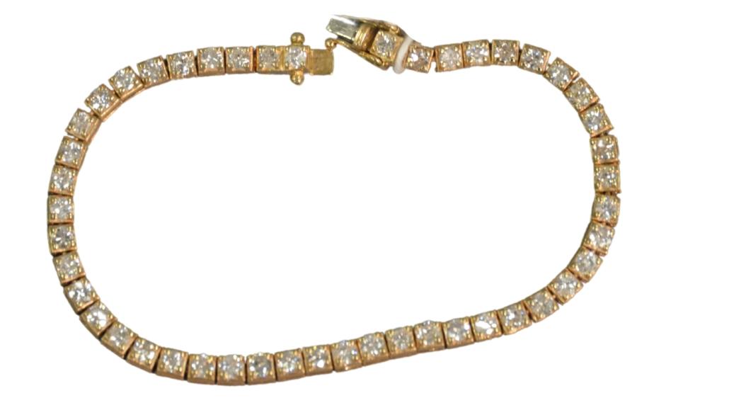 14K gold and diamond tennis bracelet, estimated at $1,000-$2,000