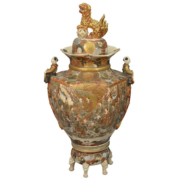 Japanese Satsuma covered palace urn on a stand, estimated at $1,000-$2,000