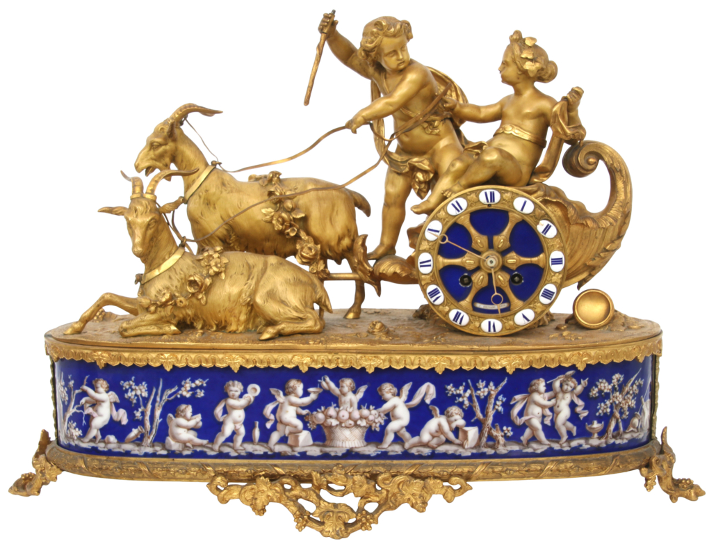 Louis XV style bronze and porcelain mantel clock, estimated at $12,000-$15,000
