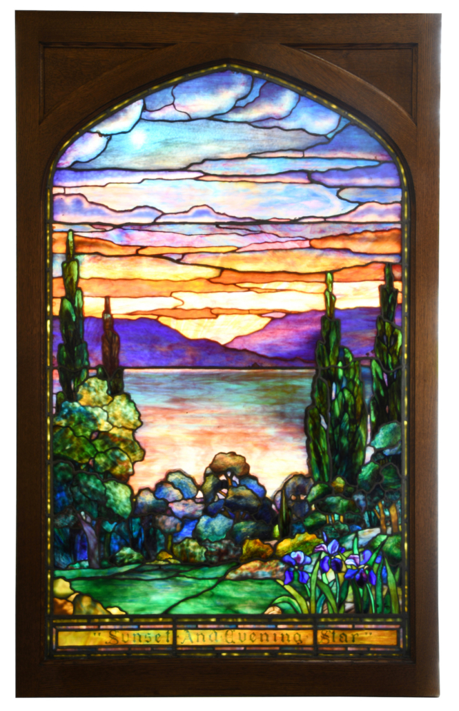 Tiffany Studios Sunset and Evening Star window, estimated at $40,000-$60,000