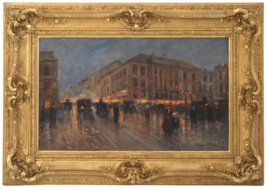 Edouard Leon Cortes Paris street scene, estimated at $20,000-$30,000