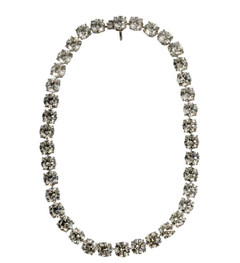Platinum and diamond riviere necklace, estimated at $600,000-$700,000