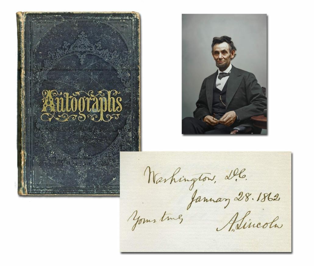 Autograph album containing the signature of Abraham Lincoln, estimated at $12,000-$14,000