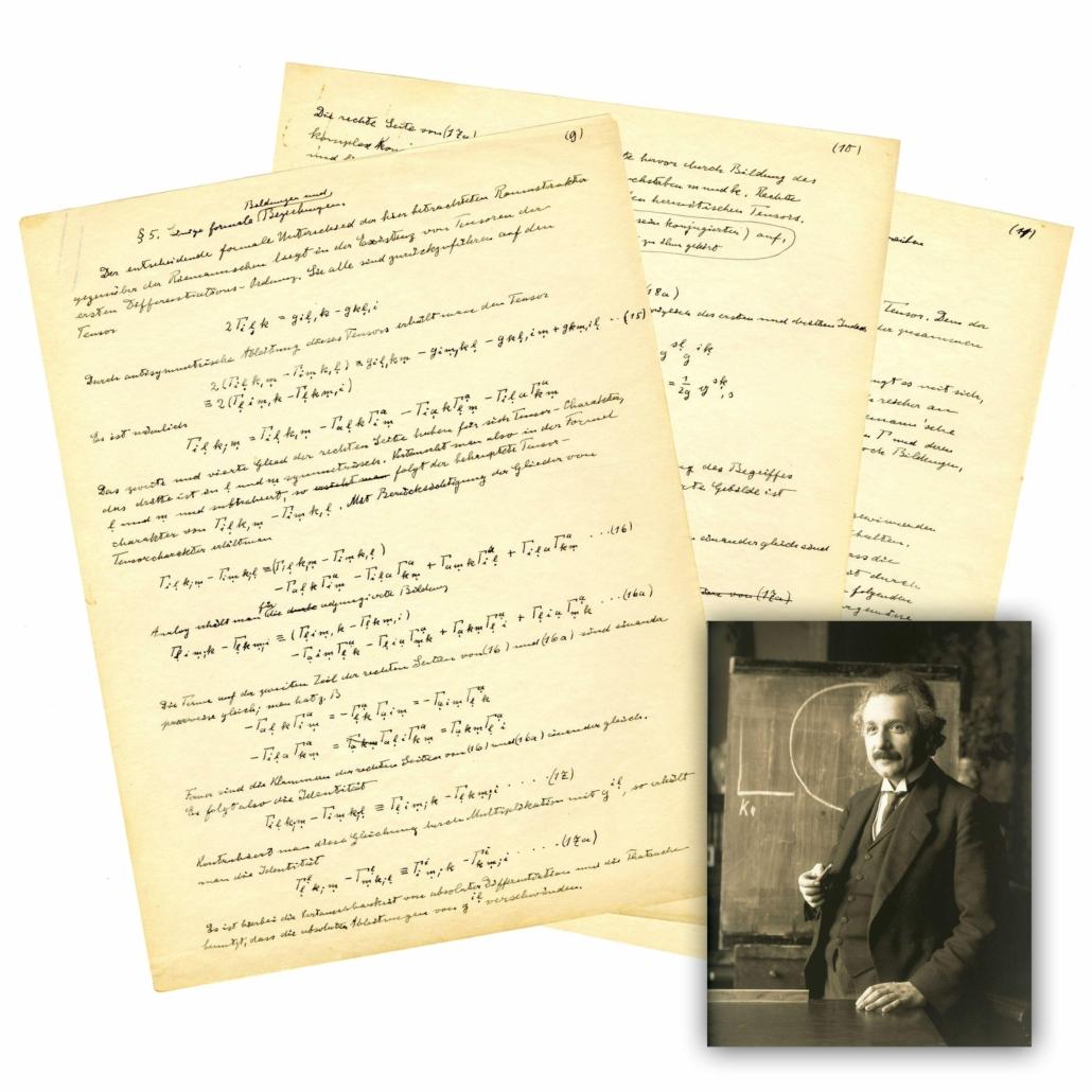 Albert Einstein manuscript on Unifed Field Theory, estimated at $60,000-$70,000