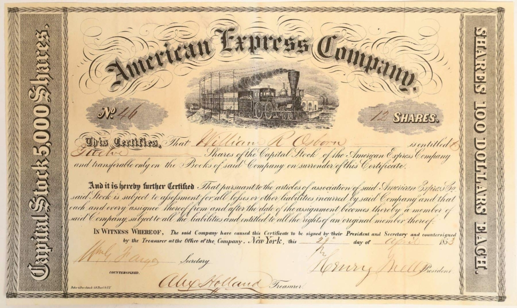 Earliest known American Express certificate, issued in New York in 1853, estimated at $10,000-$20,000