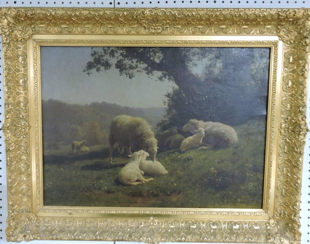 Painting of sheep in a meadow by Augustine Bonheur, estimated at $1,200-$1,500
