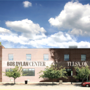 Exterior rendering of The Bob Dylan Center, which will open in Tulsa, Okla., in May 2022.