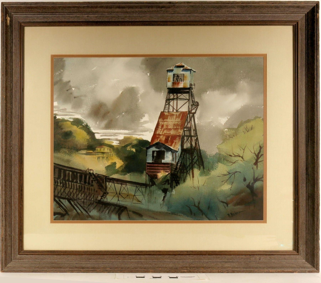 Ralph Baker watercolor painting of the Kennedy Gold Mine in Jackson, California, estimated at $2,000-$4,000