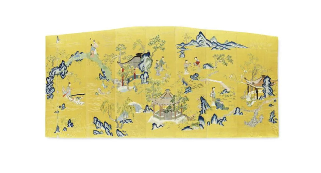Imperial yellow-ground silk embroidered screen panel, Qianlong, estimated at £100,000-£150,000
