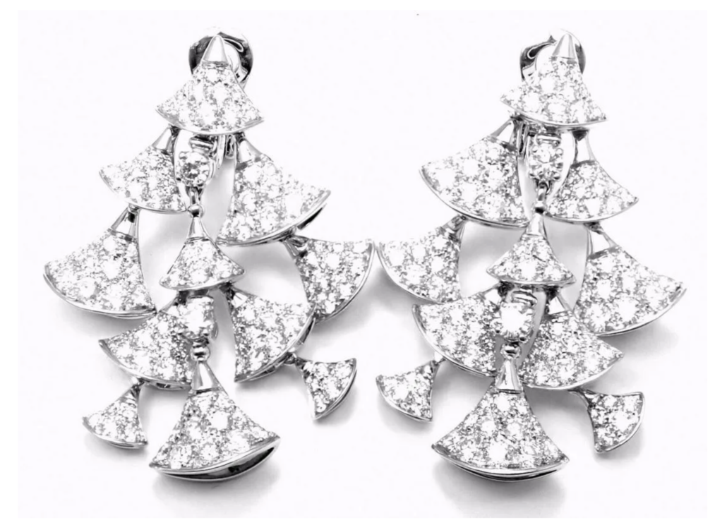 Bulgari 18K white gold Diva's Dream earrings, estimated at $22,000-$26,000