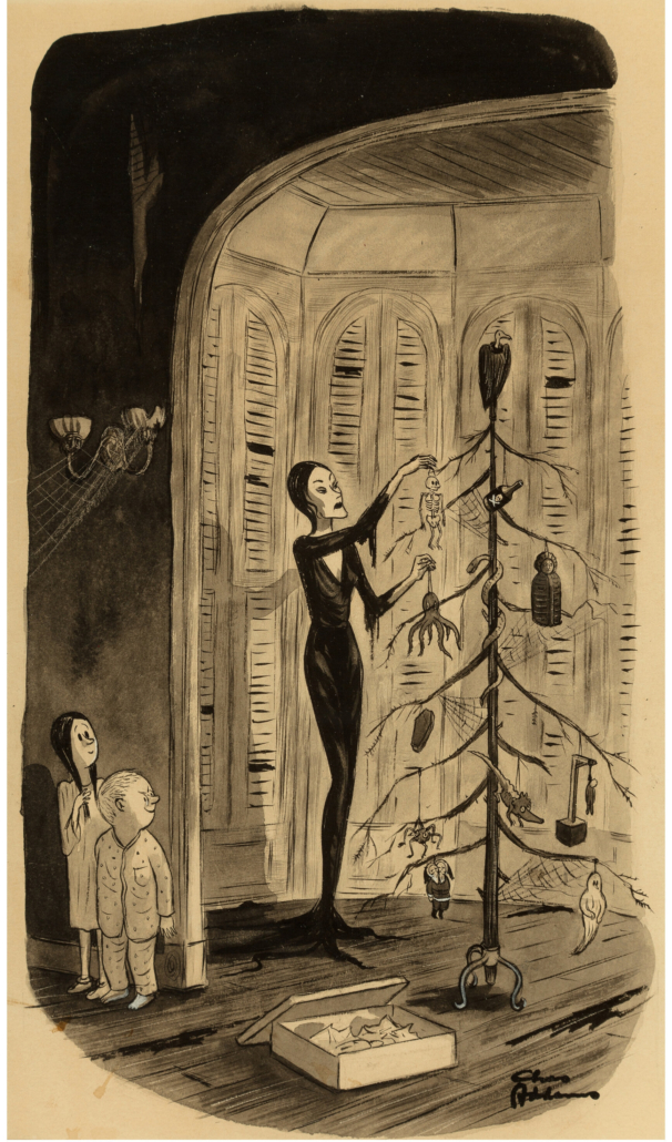 Charles Addams interior book cartoon from 'The Addams Family Christmas,' which sold for $87,500