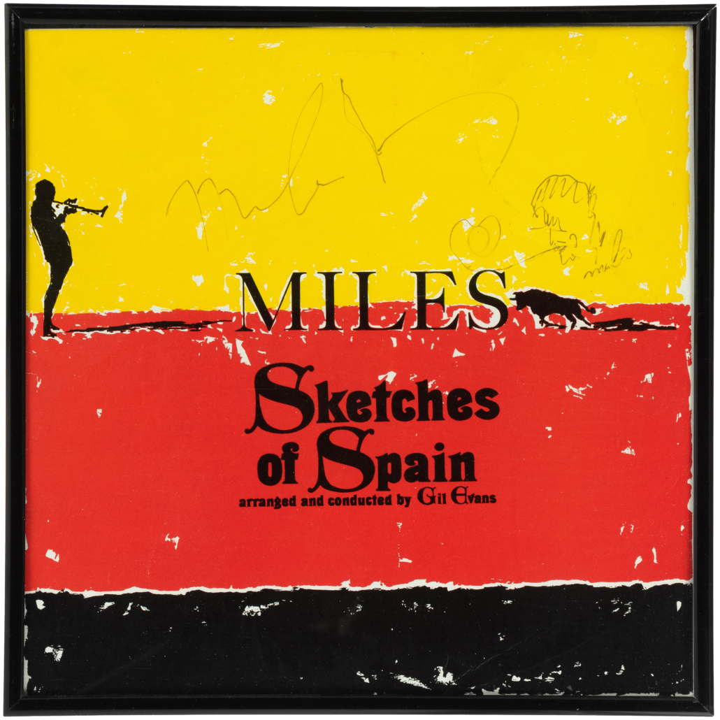 This Miles Davis album in Alex's personal collection is not only signed, but bears a sketch done by the musician.