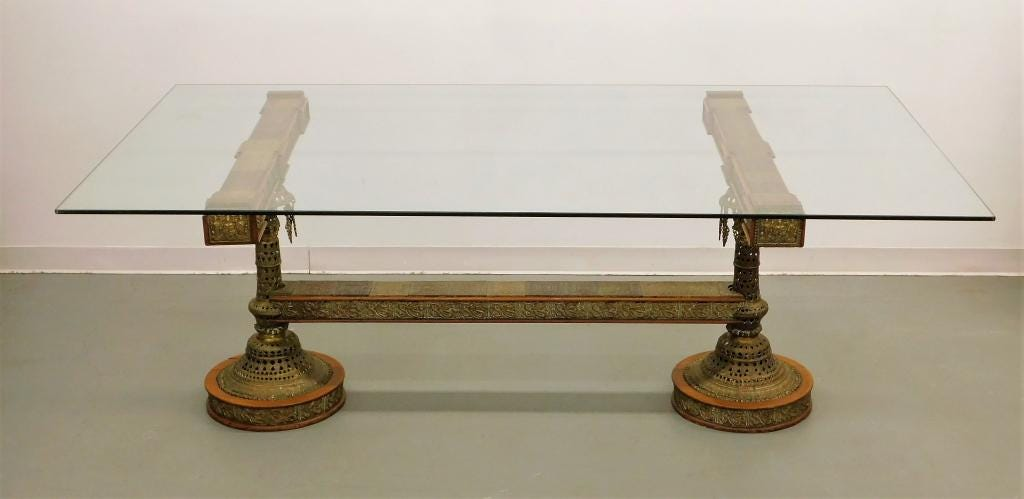 Anglo-Indian glass top dining table, estimated at $2,000-$3,000