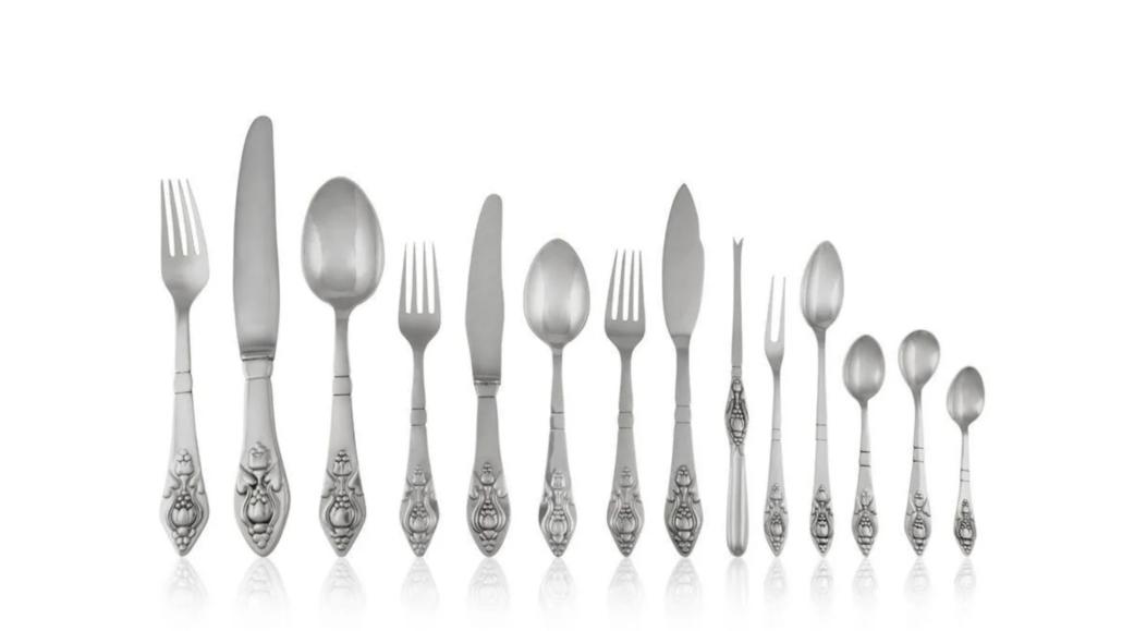 Part of a 212-piece silverware service in the Georg Jensen Fuschia pattern, estimated at $22,000-$26,000