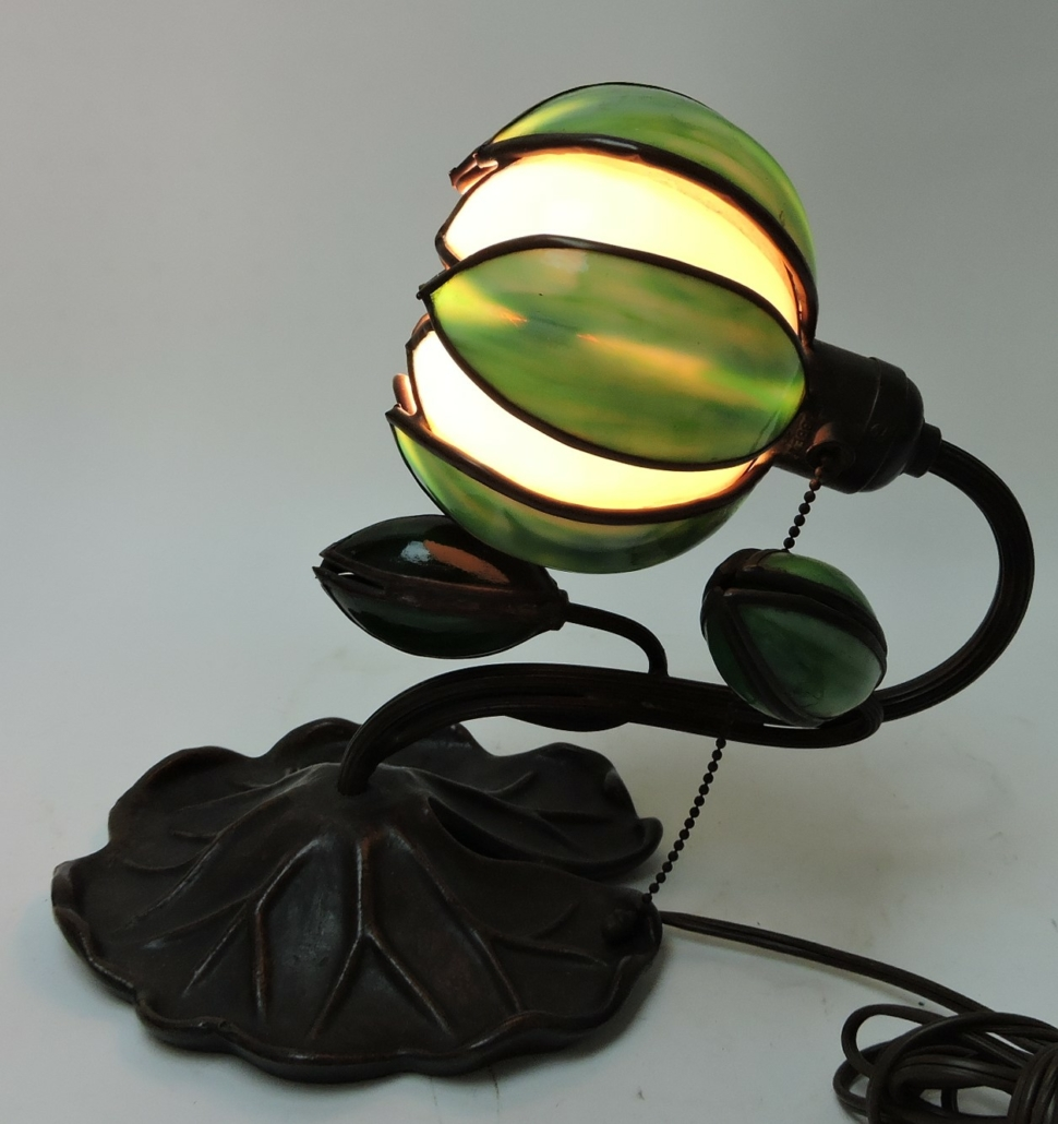 Handel bronze desk lamp with large lily pad base, estimated at $300-$500