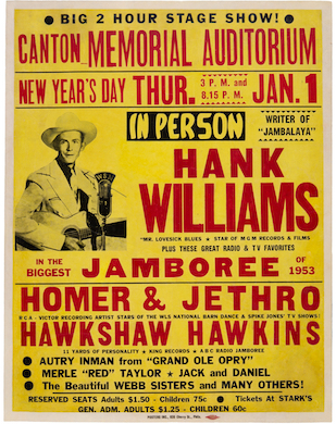 Heritage sells 1953 Hank Williams poster for record-setting $150K