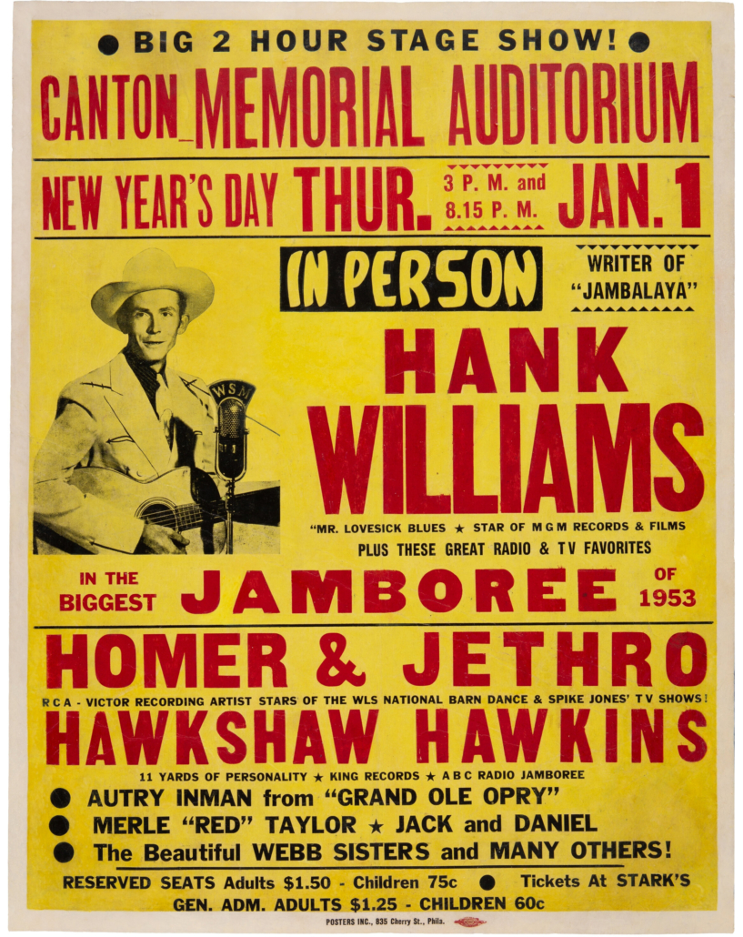 1953 Hank Williams concert poster that sold for $150,000 and a world record