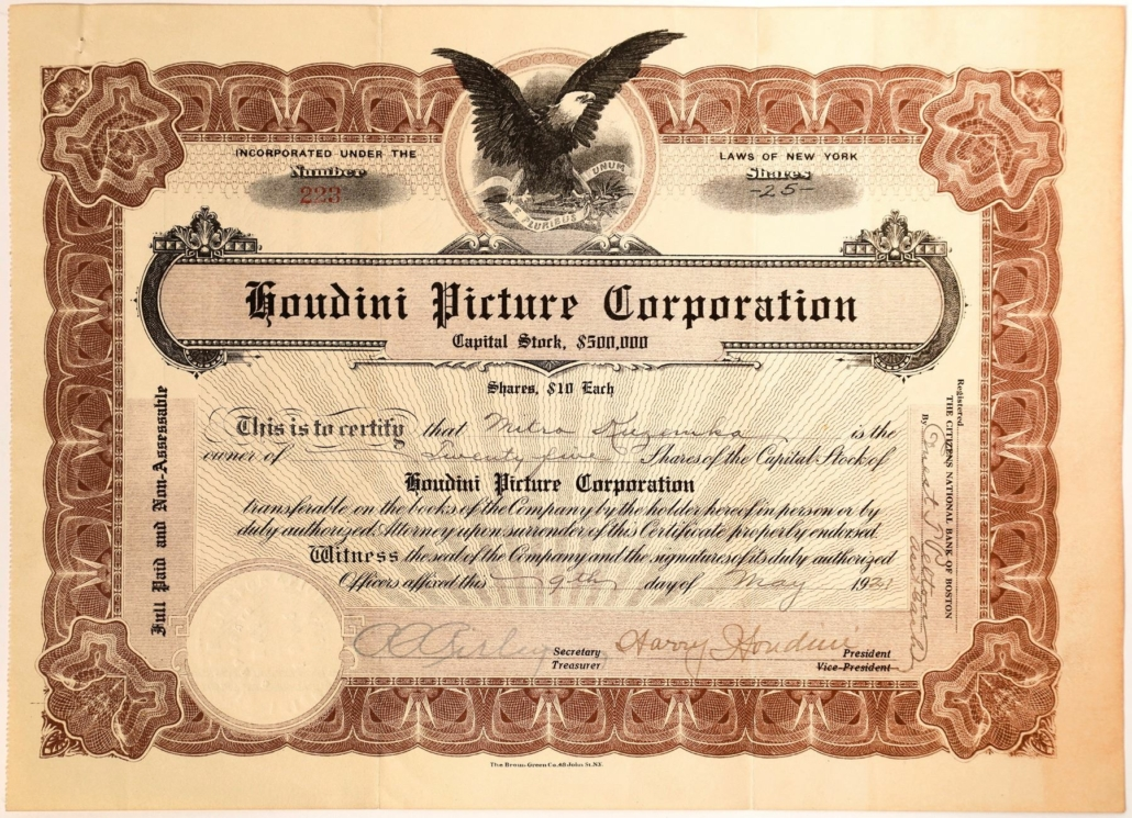 Stock certificate for the Houdini Picture Corporation in New York City, signed by Houdini, which sold for $3,375